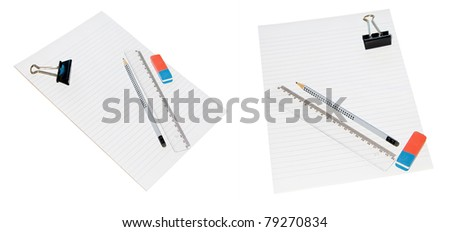 Pencil, ruler, and eraser holder on a sheet of white lined paper - stock photo