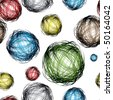 pencil scribble balls with different colors and seamless background pattern - stock photo