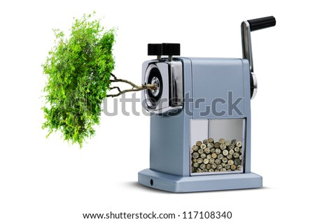 pencil sharpener cutting the tree , with concept save the wold - stock photo