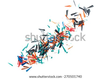 pencil shavings on a white sheet of paper,background