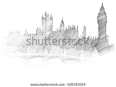 pencil sketch of a center of London: Parliament, Themes, Bridge - stock photo