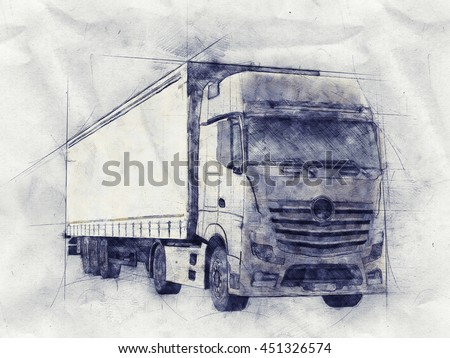 Pencil sketch of a long distance transport or haulage truck on textured crumpled grey paper in a front side view - stock photo