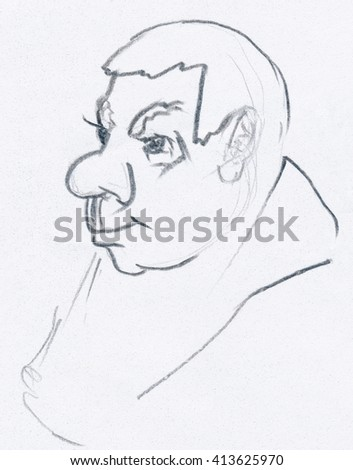 Pencil sketch of a typical man head. Three-quarter view drawing on paper.