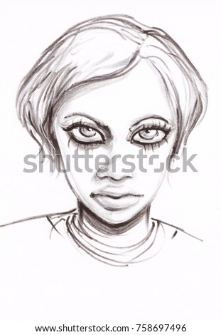Pencil sketch of beautiful girl with big eyes and lips angry face drawn with thin