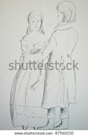 Pencil sketch of couple in love - stock photo