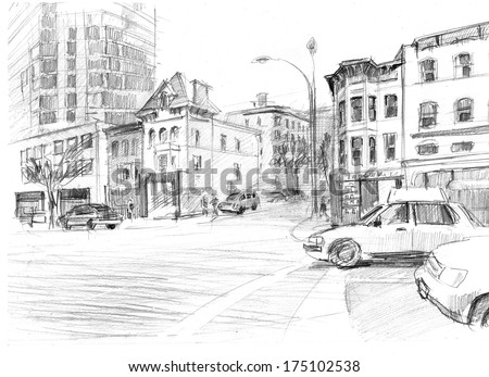 Pencil sketch of crossroads in a big american city - stock photo