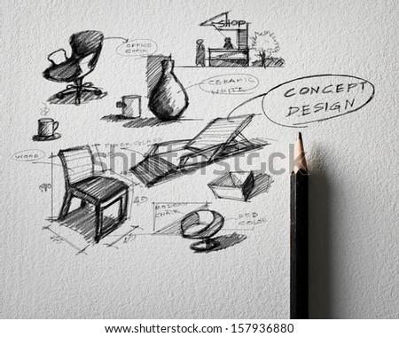 pencil sketch of furniture concept design on white paper - stock photo