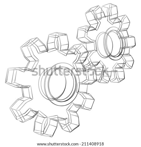 Pencil sketch stylized 3D cogwheels isolated on white background. - stock photo