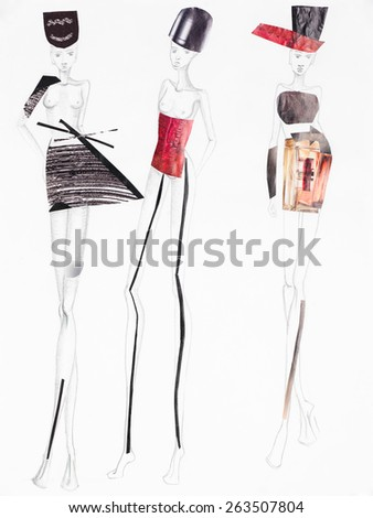 pencil sketch with models wearing clothing made out of patterns cutout from magazines. fashion collage - stock photo