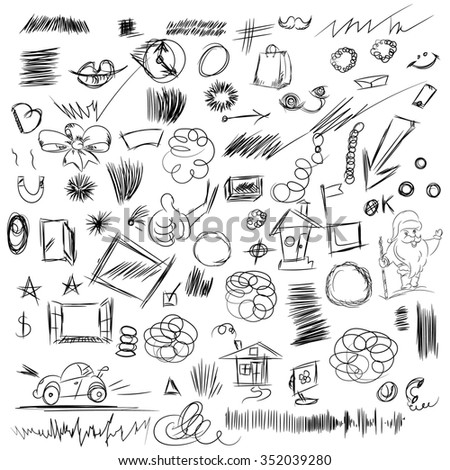 Pencil sketches.Hand drawn scribble shapes, santa claus, package and other things. A set of doodle line drawings. Raster design elements - stock photo