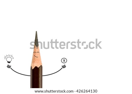 pencil smiling and light bulb on white, idea concept. Are thought to have money - stock photo