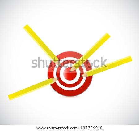 pencil target darts illustration design over a white background - stock photo
