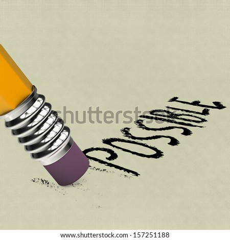 Pencil with rubber erasing characters of word impossible - stock photo