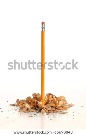 Pencil with shavings - stock photo