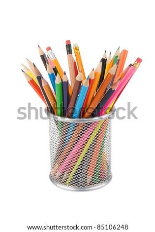 pencils and basket holder isolated on white background - stock photo