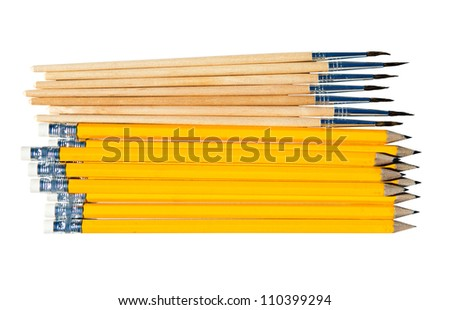 Pencils and brushes isolated on white background