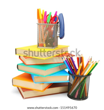 Pencils and felt-tip pens in baskets with books. On a white background. - stock photo