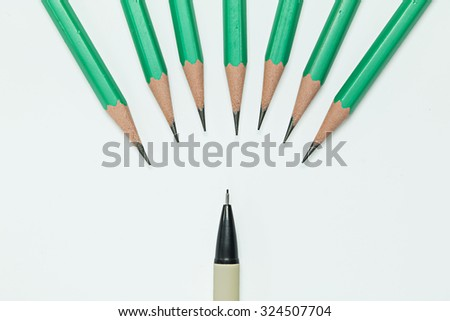Pencils and mechanical pencil on  white background - stock photo