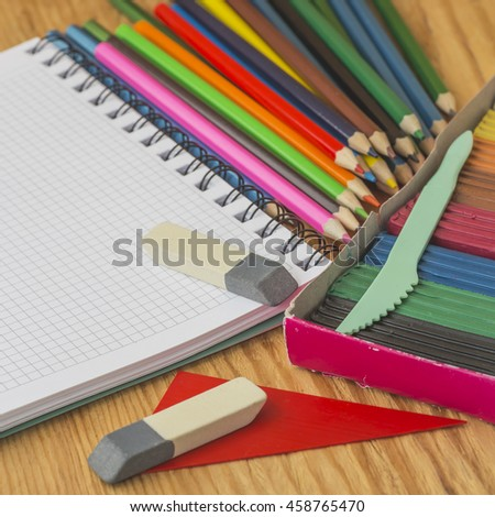 Pencils and other school supplies. Selective focus