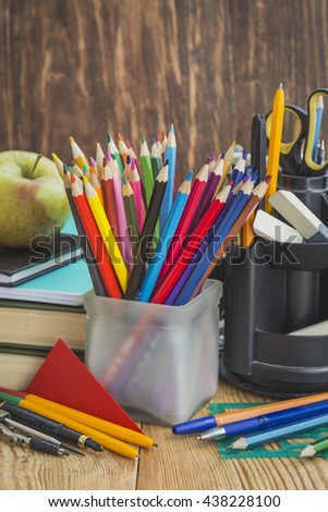 Pencils and other supplies for drawing lessons at school. Selective focus