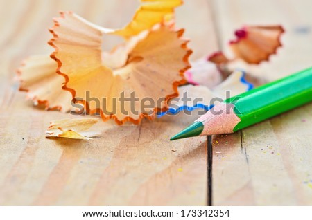 pencils and pencils shaving - stock photo