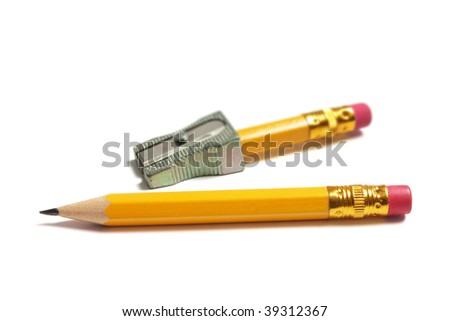 Pencils and Sharpener on White Background