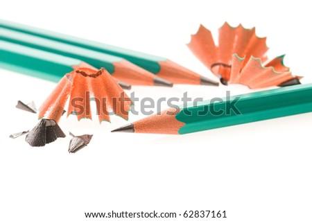 Pencils and shavings - stock photo