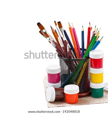 pencils, brushes, paints for drawing - stock photo