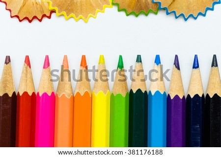 Pencils color and sharpener shavings