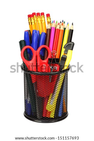 Pencils , colorful office and school supplies in pencil cup isolated on white background.