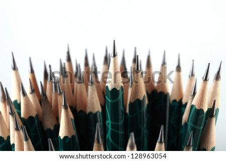 Pencils combined into a group. - stock photo