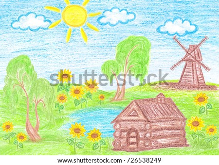 Pencils Drawing Countryside House And Old Windmill Colorful Handmade Picture Kids Art