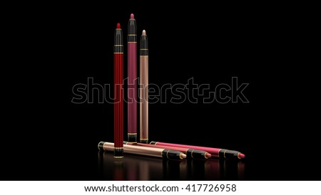 Pencils for lips on a black background. Bottle, style, makeup, lips, beauty, make-up, facials. Cosmetics. 3D rendering - stock photo