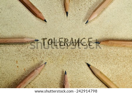 Pencils in simple conceptual expression as an appeal for tolerance - stock photo