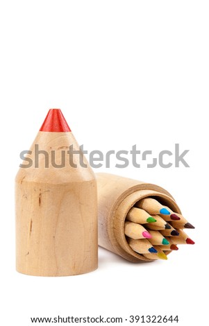 Pencils in wooden case isolated on white background. - stock photo