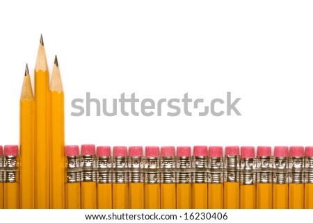 pencils line graph isolated on a white background. - stock photo