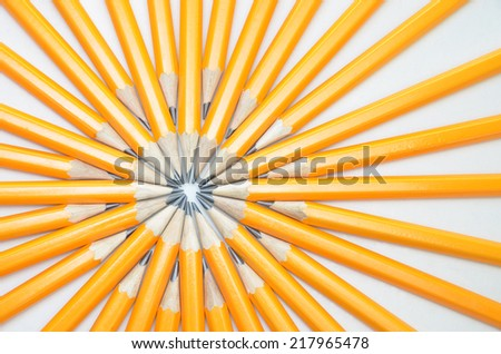 Pencils on a white background, Group concept - stock photo