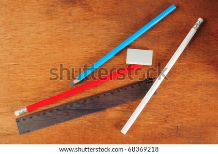 Pencils on desk. - stock photo