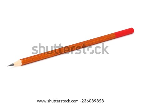 Pencils on white background close up isolated - stock photo