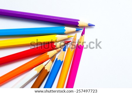 pencils on white background with copy space