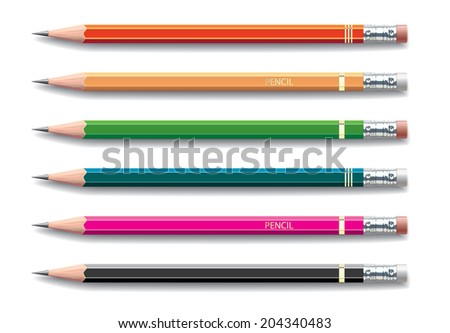 Pencils painted in different colors on white background