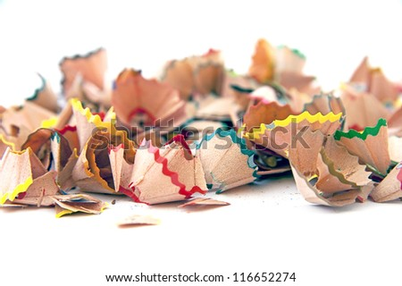 pencils shaving on white background - stock photo