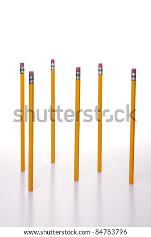 Pencils standing on end against a white background.