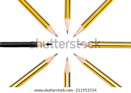 Pencils together, with minorities in business concept - stock photo
