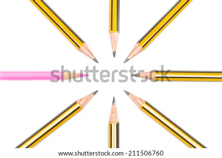 Pencils together, with women in business concept - stock photo