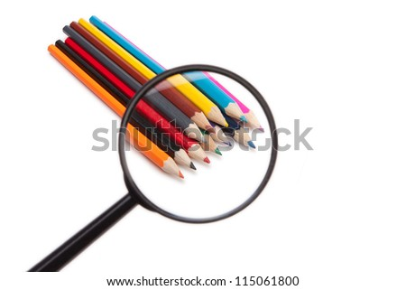 Pencils under the magnifying glass