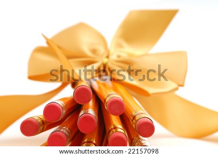 Pencils with bow studio isolated on white background
