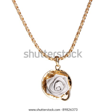 Pendant in form of rose isolated on white - stock photo