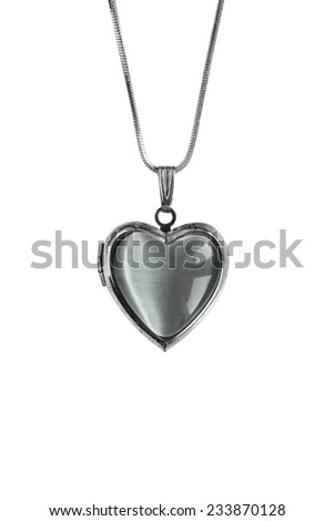 Pendant in the shape of a heart isolated over white