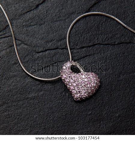 pendant necklace jewellery heart - stock photo